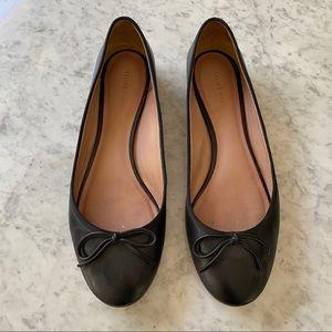 Celine Black Leather Bow Detail Ballet Flats